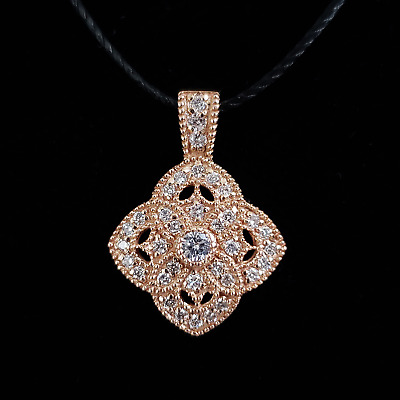 14K Rose Gold Diamond Filigree Pendant