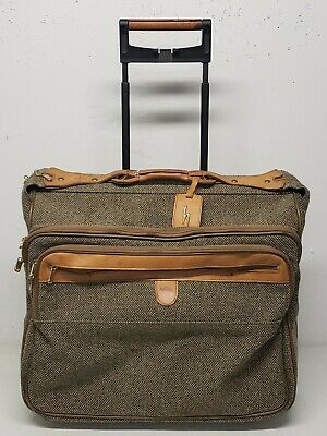VTG Hartmann Brown Tweed Leather Trim Large Rolling Suitcase Luggage Garment Bag