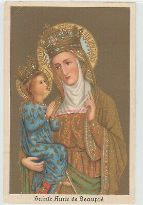 SAINTE ANNE DE BEAUPRE Postcard Gold Mother of Mary Religious Catholic Image Art