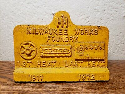 Milwaukee Works Foundry Cast Iron Paperweight International Harvester