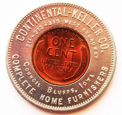Council Bluffs Iowa 1932 Encased Cent Coin Good For Token; Ia