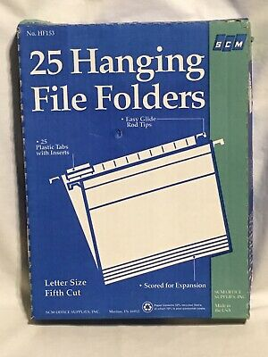 19 SCM Hanging File Folders Letter Size FifthCutTabs ExpansionScored RecycledMat