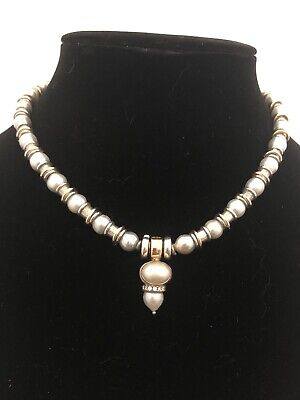Michael Dawkins RARE Silver Gold Pearl Necklace With Pearl And Diamond Enhancer!