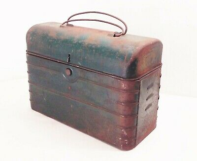 Vtg antique 20s 30s deco metal dome factory worker miner industrial lunch box