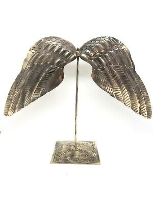 "Vintage Mexican Punched Tin Angel Wings on Stand Bird Punched Decorative 12""x10"""