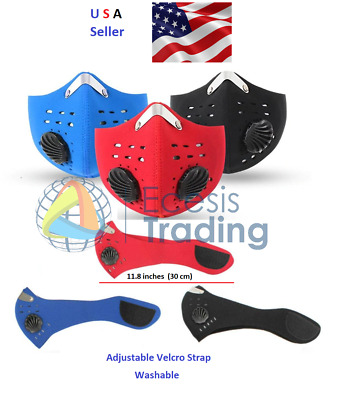 Reusable Face Mask with Carbon Filter Neoprene Mouth Cover USA Seller