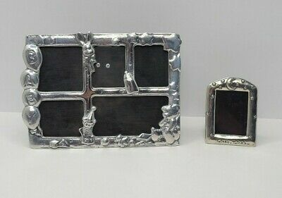 Baby Kids Picture Frame Set Of 2 Silver Tone