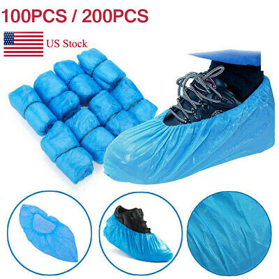 100-200pcs Waterproof Boot Covers Disposable Plastic Shoe Covers Elastic Protect