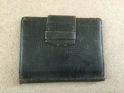 """ANTIQUE LARGE LEATHER SKIN STATIONERY WALLET CASE 111/2"""" x 9"""""""