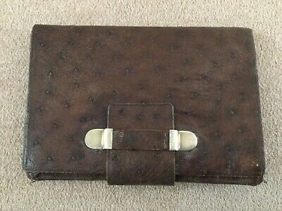 Antique Large Leather Wallet With 935 Silver Handle Clasps