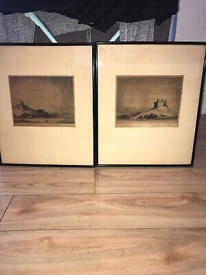 Pair Of Signed Original Etching By Australian ArtistFrank Harding Offer Welcome