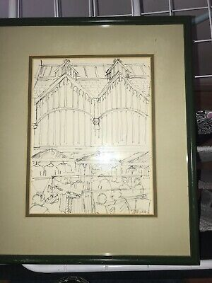 original drawing signed Jill Gibbs Stockport Market Offers Welcome