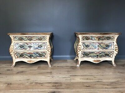 PAIR LATE 19th CENTURY ITALIAN PAINTED BOMBE COMMODES BEDSIDE TABLES / CABINETS