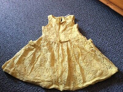 excellent cond girls Next yellow summer lace lined dress age 6 5-6 6-7 yrs