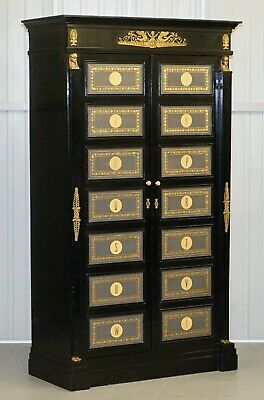 Rare French Empire Revival Style Ebonised Wardrobe Armiore Cupboard Or Bookcase
