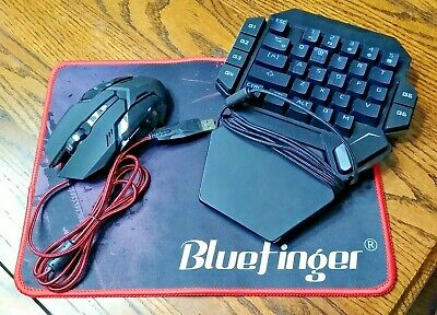 Bluefinger Gaming Mouse / Miracle Snail 1 Handed Keyboard / Bluefinger Mouse Pad