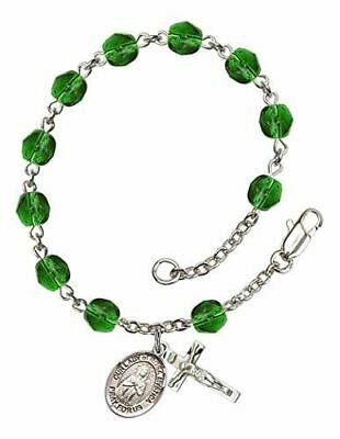 Our Lady Of Rosa Mystica Charm On A 6 1//4 Inch Round Eye Hook Bangle Bracelet