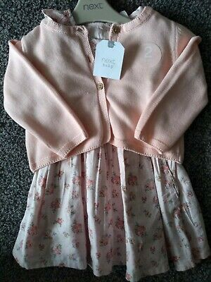 BNWT(Brand New)baby girl Next 2 Piece Set Beautiful Dress & Cardigan 6-9 Months