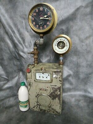 A Good Early 1932 Coin Op Gas Meter Steam Punk Upcycled With Clock And Barometer
