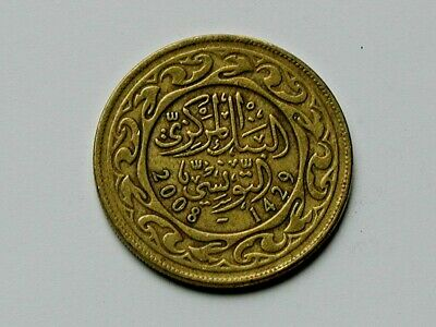 Tunisia 2008-1429 100 MILLIEMES Brass Coin Circulated & Toned