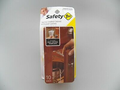 Safety 1st Spring Loaded Cabinet & Drawer Latches 10 Pack  NEW Sealed Free Ship!