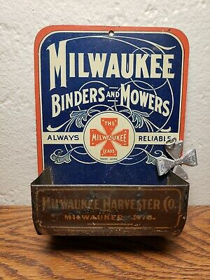 Milwaukee Binders Mowers Antique Tin Litho Match Holder International Harvester