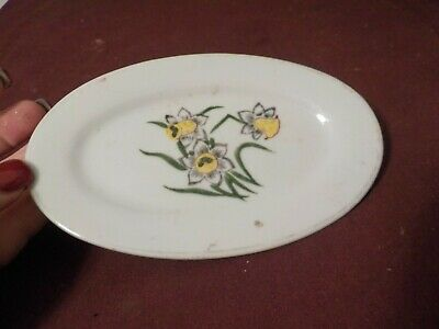 Vintage Small Porcelain Oval Plate Flowers Marked Japan