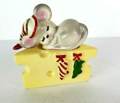 Vintage Lefton Christmas Mouse Sleeping On Cheese Salt and Pepper Shakers MCM