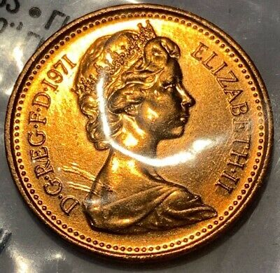 1971 Great Britain GB UK England 1 New Penny UNC/BU Coin
