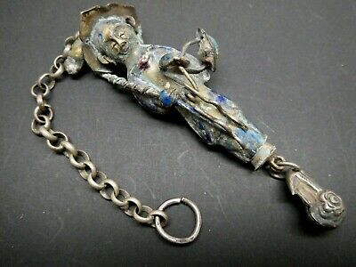 Antique Chinese Silver Blue Enamel Fisherman Chatelaine Signed Needle Case