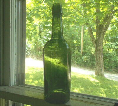 Pretty Forest Green 3 Pc Mold 1870 Dug Cylinder Whiskey Bottle Nice Color