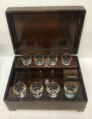 Wood Liquor Bottle Holder Music Box With 8 Shot Glasses.