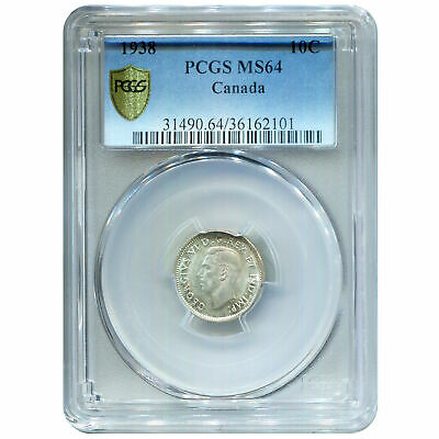 Canada 10 Cents Silver 1938 MS64 PCGS