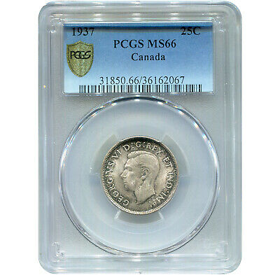 Canada 25 Cents Silver 1937 MS66 PCGS
