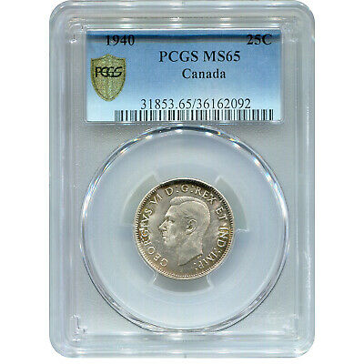 Canada 25 Cents Silver 1940 MS65 PCGS