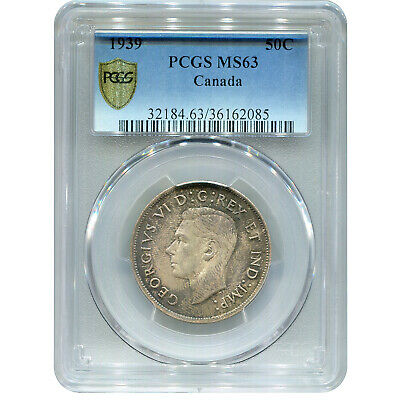 Canada 50 Cents Silver 1939 MS63 PCGS