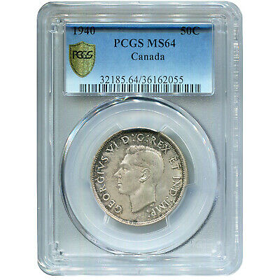 Canada 50 Cents Silver 1940 MS64 PCGS
