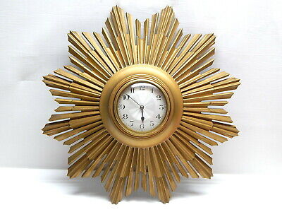 Antique c1930 French Gilded Cast Metal Sunburst Art Deco Wall Clock / Signed