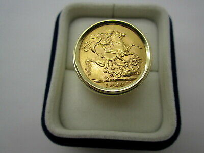 1920 P Full Sovereign Gold Coin George V Great Britain Set in 14K Gold Ring sz13