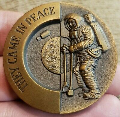 Scarce Apollo 11 Nasa They Came In Peace Bronze Space Medal W/ Jesus High Relief