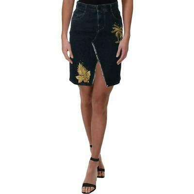 Stella McCartney Womens Embroidered Denim Skirt Blue 40 Made in Italy