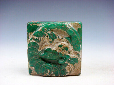 Old Nephrite Jade Stone Carved Seal Paperweight Monster Pi-Xiu & Coins #03112023