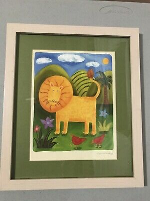 NURSERY LION ART PRINT BY SOPHIE HARDING FRAMED, MATTED Great Condition!