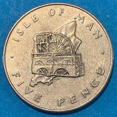 1976 Isle of Man 5 Pence Laxey Wheel Coin
