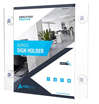 AdirOffice Acrylic Window Sign Holder with Suction Cups 2 pack 8.5-x-11-inch