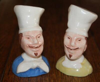 Rare  Vintage  Happy Smiling Chefs Chef Salt & Pepper Shakers