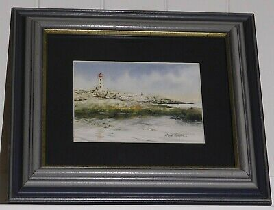 Original Maritime Lighthouse Watercolor Listed Canadian Artist Alistair Morrison
