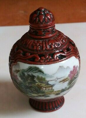 China pastel Porcelain Rotatable Circular with painting  snuff bottle  居仁堂款  鼻