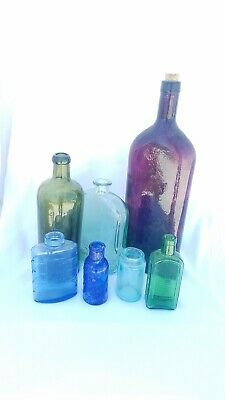 Lot Of 7 Antique Glass Bottles Blue Purple Green Clear Hunyadi Janos Bourjois