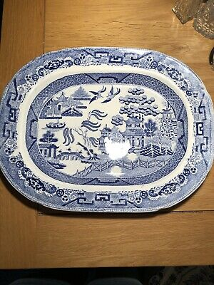 HUGE extra large Antique Blue Willow Pattern Transferware Meat Platter 40cm